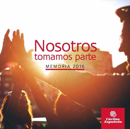 Portada de la memòria de Càritas española 2016