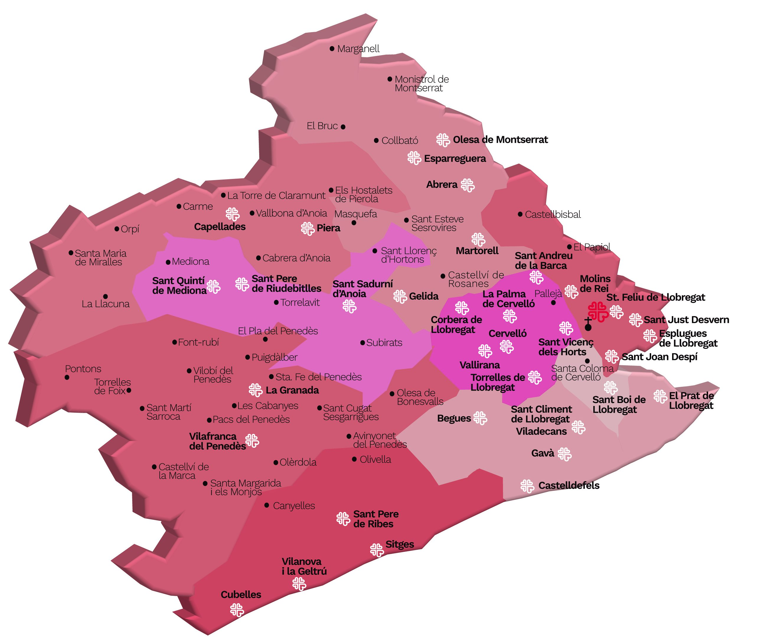 Mapa bisbat de Sant Feliu de Llobregat