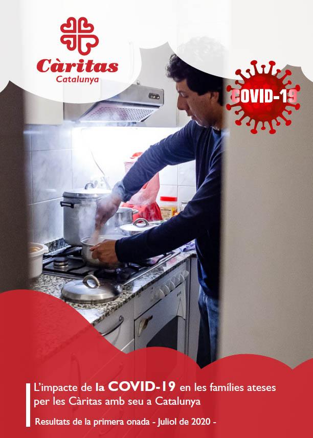 Portada de l'informe Impacte de la COVID-19 en les persones ateses per les Càritas catalanes